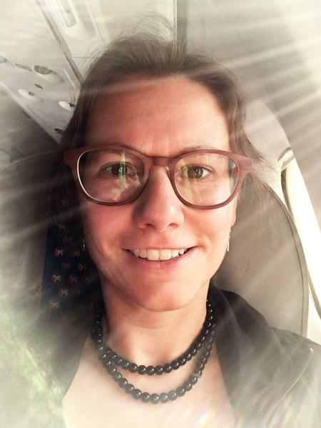 Elke in airplane