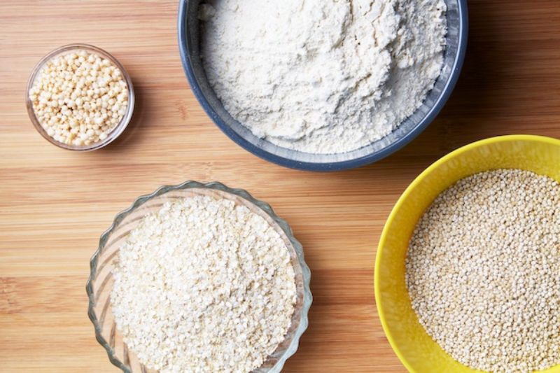 Types of quinoa superfood - four, flakes, puffed, grains