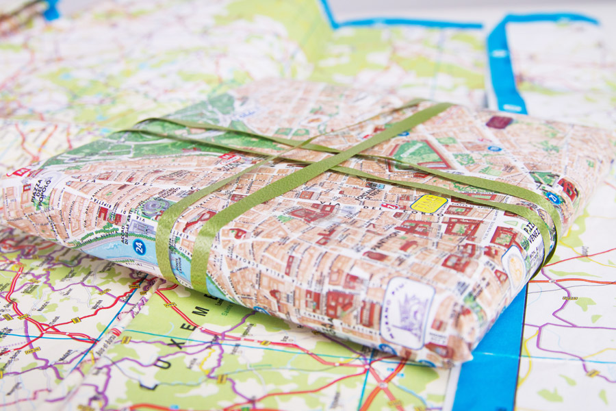 Gift wrap idea: use old maps or calendars