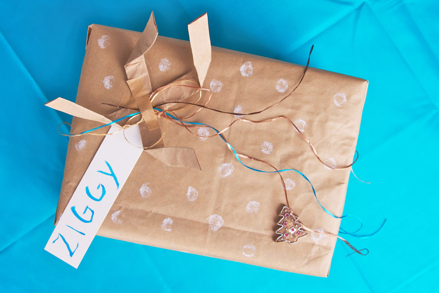 Gift wrap idea: use paper bags you get in the store