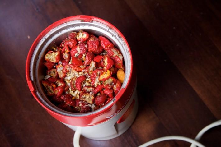 Coffee grinder - grind some rosehips
