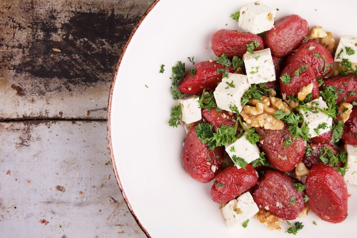 Gnocchi with beetroot and vegan feta