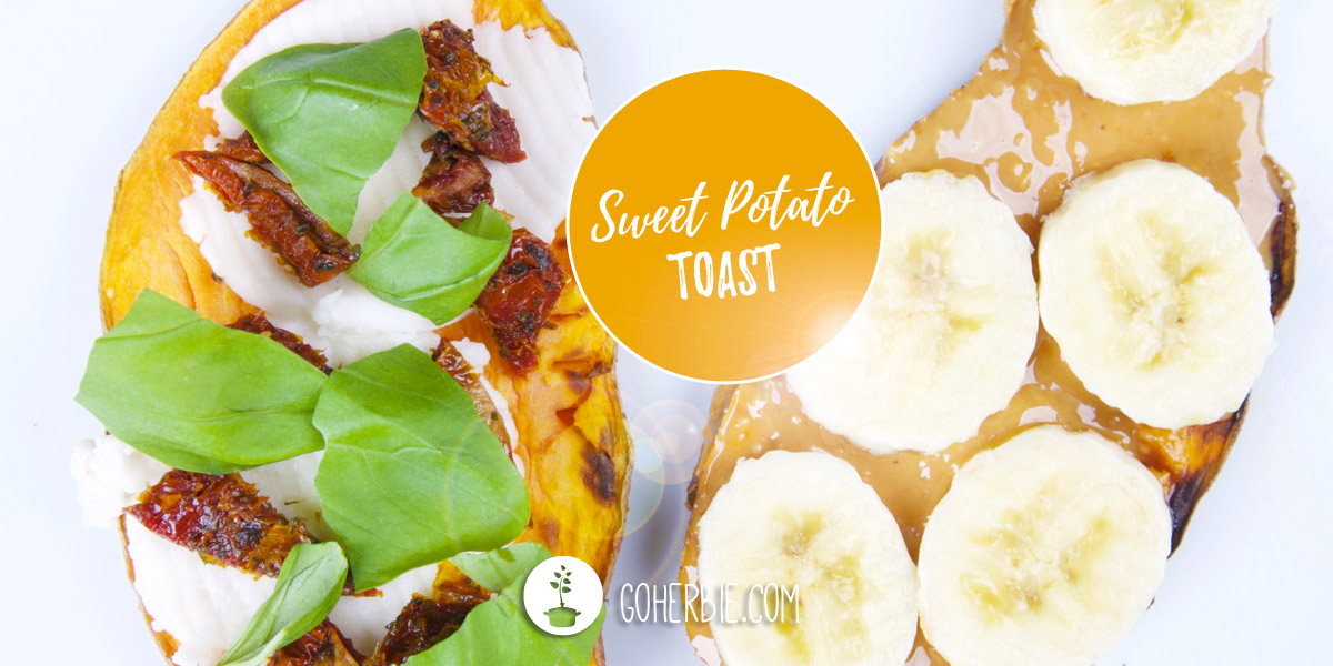Sweet potato toast with different toppings