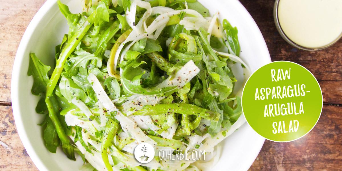 Raw asparagus-arugula salad