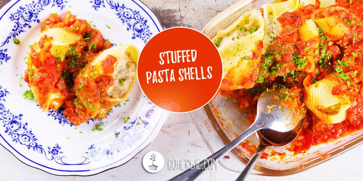 Stuffed pasta shells with vegan ricotta, oyster mushrooms and tomato sauce