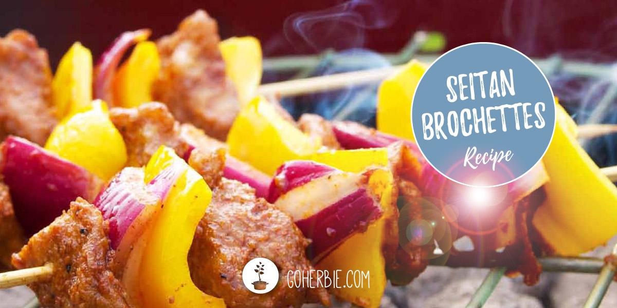 Marinated seitan brochettes on the Barbecue