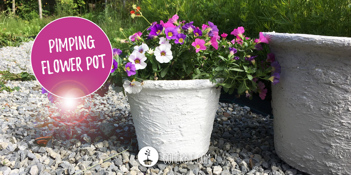 From an old flower pot to a design with faux concrete with wall putty