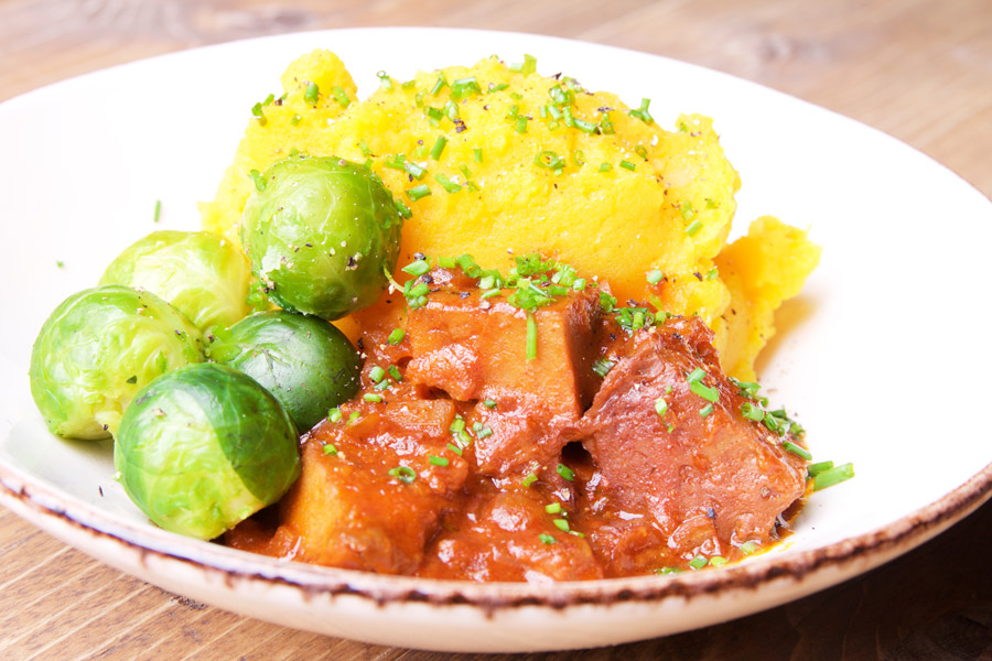 pumpkin mashed potatoes, brussels sprouts, seitan stew